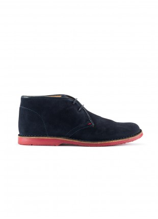 John Barritt man shoes, ankle boots in suede leather, color blue. Colored rubber sole. Composition 100% lamb leather. Blue