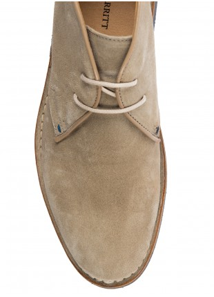 John Barritt man shoes, ankle boots suede leather, beige. Colored rubber sole. 100% lamb leather.