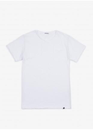 John Barritt t-shirt, slim fit, crew neck fit raw edge details, small pocket. cotton jersey, color white. 100% cotton.