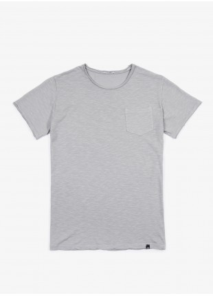John Barritt t-shirt, slim fit, crew neck fit, small pocket. Flamed cotton jersey, color light grey. 100% cotton.