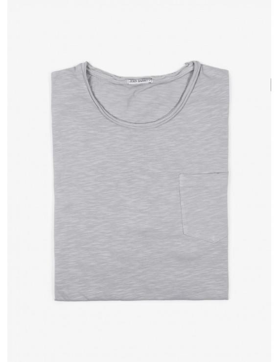 John Barritt t-shirt, slim fit, crew neck fit, small pocket. Flamed cotton jersey, color light grey. 100% cotton.