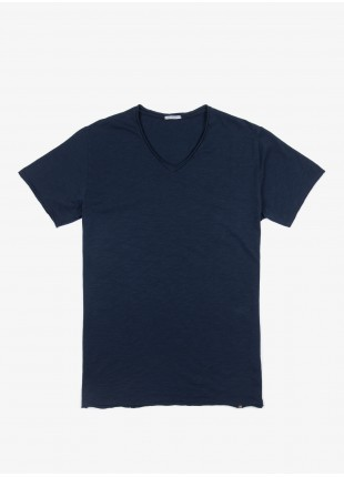 John Barritt man t-shirt, slim fit, V neck, blue. 100% cotton.