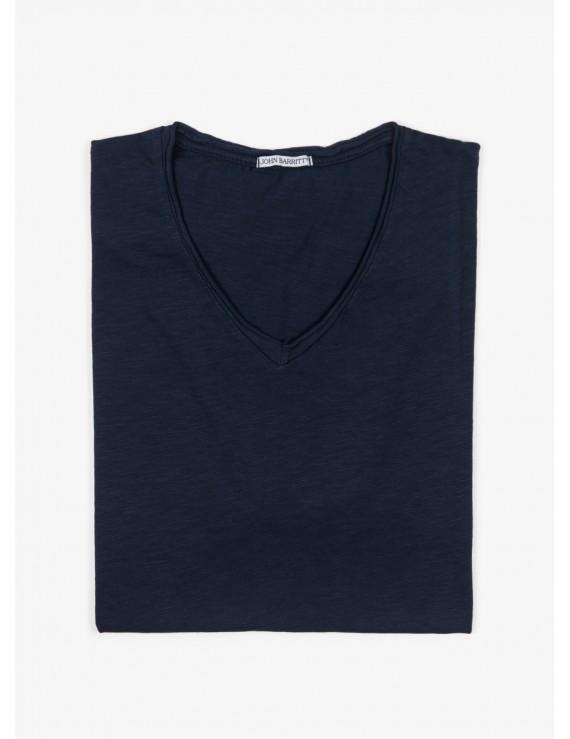 John Barritt man t-shirt, slim fit, V neck, blue. 100% cotton.