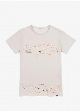 John Barritt t-shirt, slim fit, crew neck, hand made spray print. old white. 100% cotton.