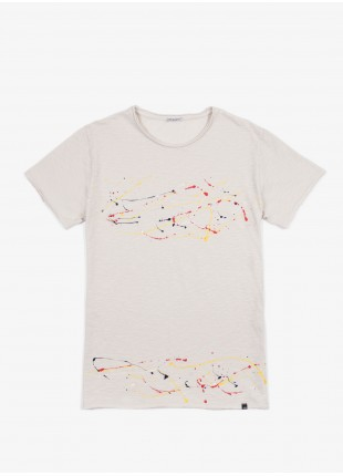 T-shirt John Barritt, slim fit, girocollo. Stampa a spruzzo fatta a mano. panna. 100% cotone.