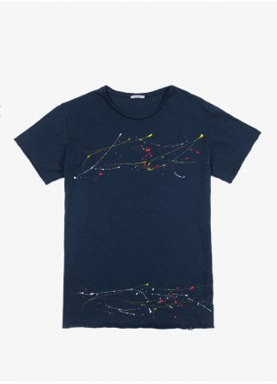 John Barritt t-shirt, slim fit, crew neck, hand made spray print. 100% cotton. Blue