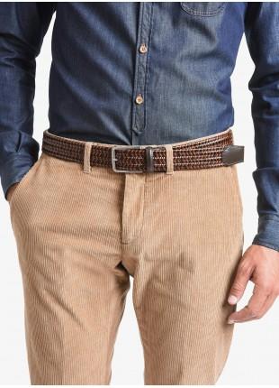 Cintura uomo John Barritt, regolabile, altezza 3.5 cm, bicolore moro/cognac, in pelle elastica. Fibbia in metallo galvanica nikel satinato. Composizione 100% pelle. Marron Chiaro