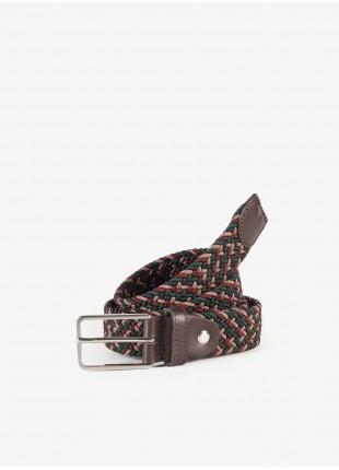 Cintura uomo John Barritt, regolabile, altezza 3 cm, in materiale elastico, bicolore ruggine/blu . Fibbia in metallo galvanica nikel satinato. Composizione 100% elastan. Cammello