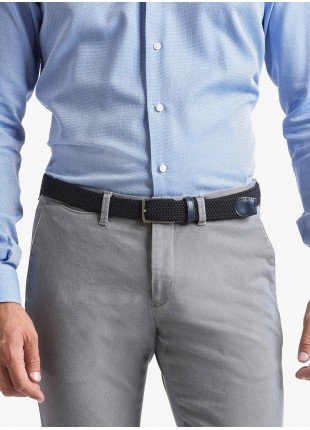 Cintura uomo John Barritt, regolabile, altezza 3 cm, in materiale elastico, colore blu. Fibbia in metallo galvanica nikel satinato. Composizione 100% elastan. Blue