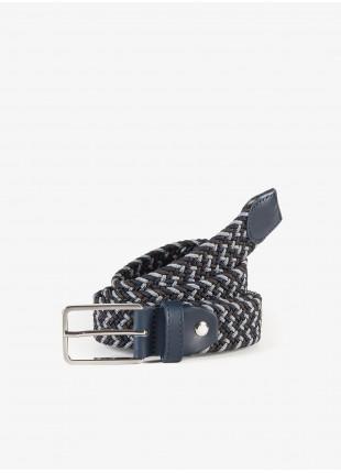 Cintura uomo John Barritt, regolabile, altezza 3 cm, in materiale elastico, bicolore moro/blu. Fibbia in metallo galvanica nikel satinato. Composizione 100% elastan. Marron Chiaro
