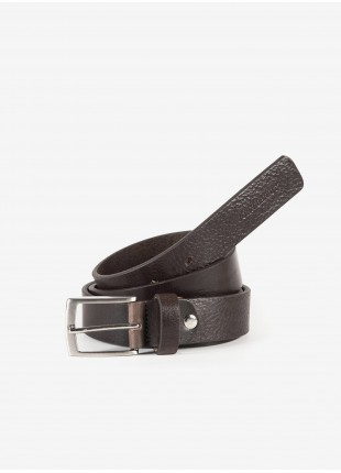 John Barritt man belt, adjustable, height 3 cm, in hammered leather, color brown. Satin nikel metal buckle and leather loop. Composition 100% lamb leather. Light Brown