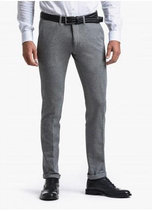 Pantalone chinos uomo John Barritt, vestibilita slim, in jersey di cotone. Composizione 100% cotone. Grigio Chiaro Melange