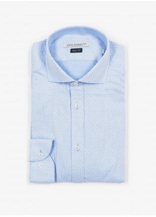 Camicia uomo John Barritt, slim fit, in cotone con fantasia jacquard a pois, collo mezzo francese, colore azzurro. Composizione 100% cotone. Azzurro Carta Da Zucchero