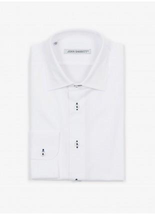 Camicia uomo John Barritt, slim fit, in twill di cotone con asole in contrasto blu, collo mezzo francese, colore bianco. Composizione 100% cotone. White
