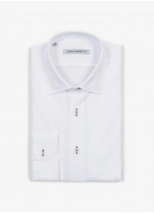 Camicia uomo John Barritt, slim fit, in twill di cotone con asole in contrasto marrone, collo mezzo francese, colore bianco. Composizione 100% cotone. White