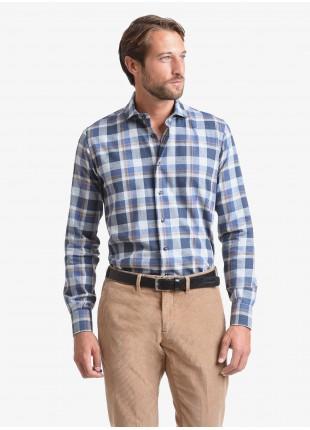 Camicia uomo John Barritt, slim fit, in cotone flanellato a quadri, collo mezzo francese, colore grigio/blu. Composizione 100% cotone.   Blue