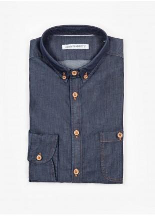 Camicia uomo John Barritt, slim fit, in denim di cotone, collo button down piccolo, colore blu. Composizione 100% cotone.   Blue