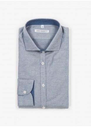 Camicia uomo John Barritt, slim fit, in cotone flanellato, collo mezzo francese, colore azzurro. Composizione 100% cotone. Blue