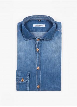 Camicia uomo John Barritt, slim fit, in denim di cotone, collo mezzo francese, colore blu chiaro. Composizione 100% cotone.   Blue