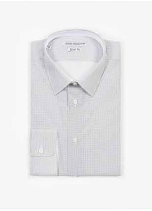 Camicia uomo John Barritt, slim fit, in popeline di cotone stampato con micro fantasia, collo italiano, colore bianco/grigio. Composizione 100% cotone.   White