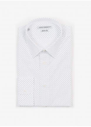 John Barritt man shirt, slim fit, in cotton popeline fabric with printed dots, italian collar, color white/blue. Composition 100% cotton. White