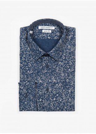 Camicia uomo John Barritt, slim fit, in popeline di cotone stampato con fantasia a fiori, collo italiano, colore blu. Composizione 100% cotone. Blue