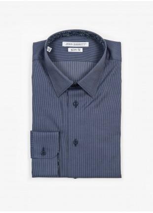 Camicia uomo John Barritt, slim fit, in popeline di cotone stampato con fantasia a righe sottili, collo italiano, colore blu. Composizione 100% cotone.   Blue