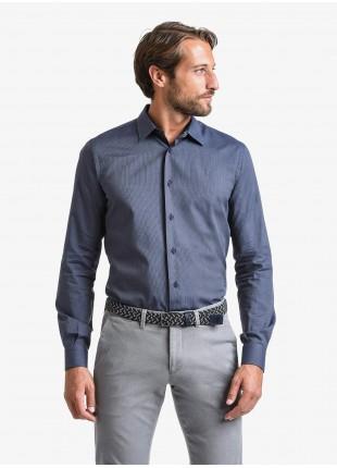 John Barritt man shirt, slim fit, in cotton popeline fabric with mini printed stripes, italian collar, color blue. Composition 100% cotton. Blue