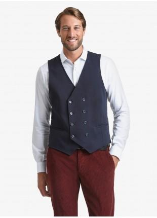 Gilet doppiopetto uomo John Barritt, vestibilita slim, tasche a filetto, in jersey di cotone, colore blu. Composizione 100% cotone. Blue