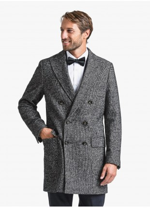 John Barritt man double breast coat, slim fit, full body lining, peak lapel, martingale and vent on back. Composition 31% wool 31% cotton 20% polyester 13% polyamide 5% other fibres. Dark Grey Melange