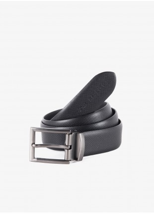 John Barritt man belt, adjustable, height 3.5 cm, in real leather printed color black. Metal buckle color matt metal gun. Composition 100% lamb leather. Nero
