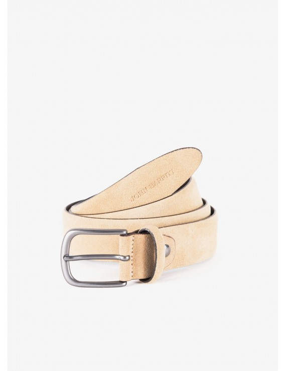John Barritt man belt, adjustable, height 3.5 cm, in suede leather color beige. Metal buckle color matt metal gun. Composition 100% lamb leather. Medium Beige