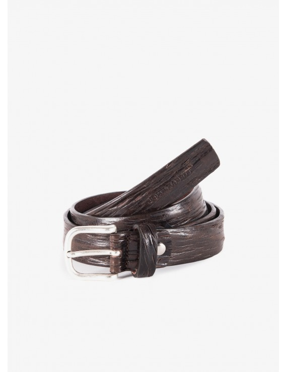 John Barritt man belt, adjustable, height 3 cm, in real leather washed color dark brown. Silver old metal buckle. Composition 100% lamb leather. Light Brown