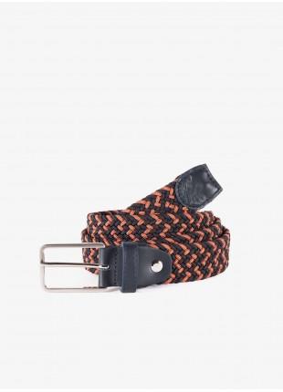 Cintura uomo John Barritt, regolabile, altezza 3 cm, in materiale elastico colore blu/ruggine/bordeaux. Fibbia in metallo galvanica nikel satinato. Composizione 100% elastan. Blue