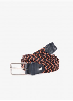 John Barritt man belt, adjustable, height 3 cm, in elastic material color blue/orange/bordeaux. Satin nikel metal buckle. Composition 100% elastane. Blue