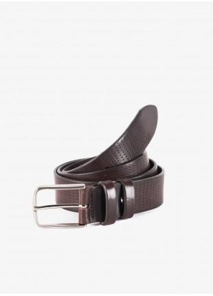 Cintura uomo John Barritt, regolabile, altezza 3.5 cm, in pelle stampata colore testa di moro. Fibbia in metallo galvanica nikel satinato. Composizione 100% pelle. Marron Chiaro