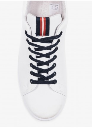 John Barritt man sneakers, in leather color white with colored details. Rubber sole. Composition 100% lamb leather. White