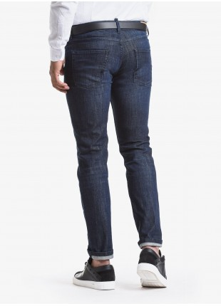 John Barritt man five pockets jeans, slim fit, in stretch denim color dark blue with light stone wash. Composition 99% cotton 1% elastane. Blue