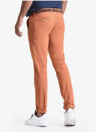 John Barritt man chinos, slim fit, in cotton poplin, garment-dyed. Composition 97% cotton 3% elastane. Orange