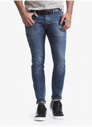 John Barritt man jeans with slant side pockets on front, slim fit, in stretch denim color blue stone wash. Composition 99% cotton 1% elastane. Bluette