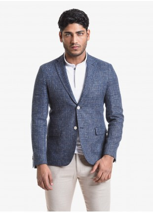 John Barritt man jacket, slim fit, full body lining, two buttons, double vent, flap pockets, alcantara patches on contrast. Cotton/linen fabric, color blue. Composition 50% linen 44% cotton 4% polyamide 2% silk. Bluette