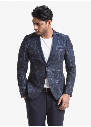 John Barritt man jacket, slim fit, full body lining, two buttons, double vent, contrast fabric for lapel and welt pockets. Jacquard cotton/linen fabric, color blue. Composition 75% cotton 21% linen 4% polyamide. Bluette