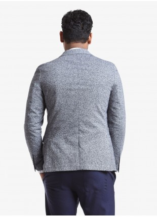John Barritt man jacket, regular fit, half body lining, two buttons, double vent, flap pockets, pochette and amf. Mixed wool fabric, color blue. Composition 80% wool 20% polyamide. Blue