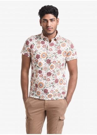 John Barritt man polo shirt, slim fit, short sleeve, classic collar, cotton jersey fabric with digital print flower pattern. Composition 100% cotton. Orange