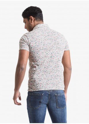 John Barritt man polo shirt, slim fit, short sleeve, classic collar, cotton jersey fabric with digital print flower pattern. Composition 100% cotton. Rose