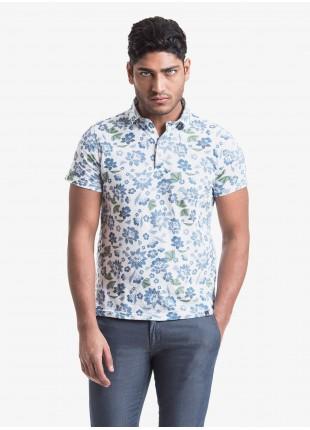 John Barritt man polo shirt, slim fit, short sleeve, classic collar, cotton jersey fabric with digital print flower pattern. Composition 100% cotton. Blue Paper From Sugar