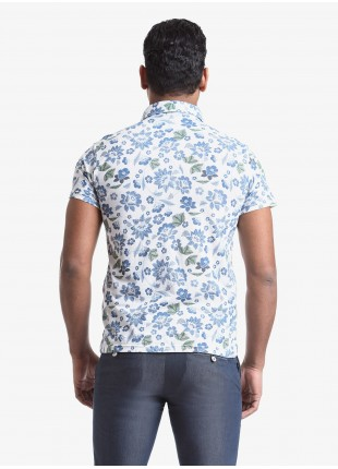 John Barritt man polo shirt, slim fit, short sleeve, classic collar, cotton jersey fabric with digital print flower pattern. Composition 100% cotton. Blue Paper From Sugar