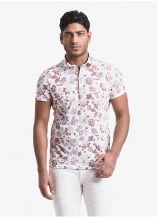 Polo uomo John Barritt, vestibilita slim, manica corta, colletto classico, tessuto in jersey di cotone con stampa digitale a fiori. Composizione 100% cotone. White