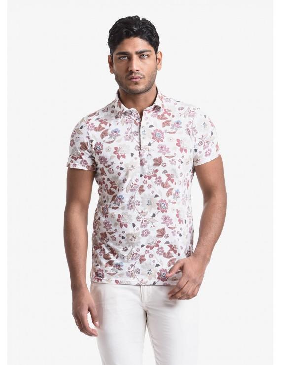 John Barritt man polo shirt, slim fit, short sleeve, classic collar, cotton jersey fabric with digital print flower pattern. Composition 100% cotton. White