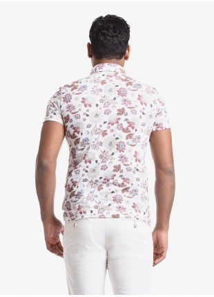 John Barritt man polo shirt, slim fit, short sleeve, classic collar, cotton jersey fabric with digital print flower pattern. Composition 100% cotton. White